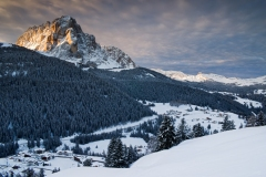 sassolungo winter sunrise
