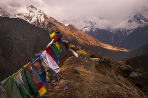 prayer flags are flying in the wind